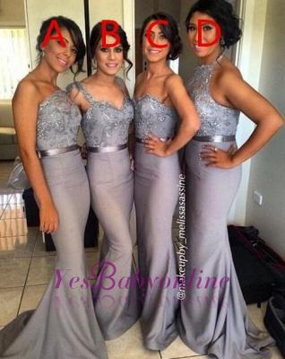 Ruffle  Draped Sweep-Train Appliques Mermaid Grey  Sash Sequined Bridesmaid Dresses_1