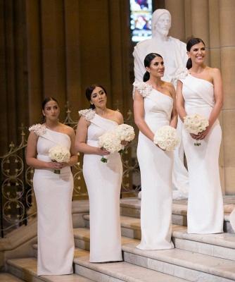 Elegant One Shoulder Sheath White Long Bridesmaid Dresses_3