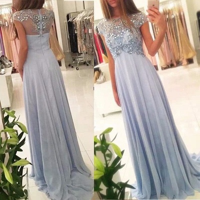 Cap-Sleeve Empired Long Sparkly Crystals Chiffon Blue Elegant Beading Prom Dresses_3