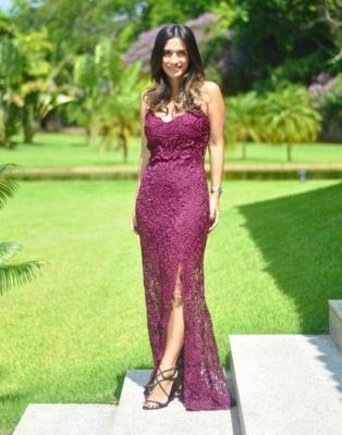 Sleeveless Long Elegant Split Spaghetti-Straps Full-Lace Prom Dress_2