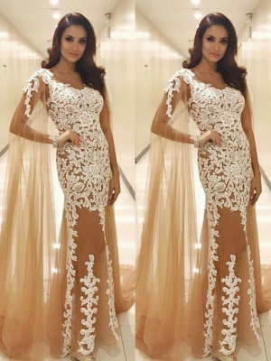 Long Lace Scoop Popular Prom Dresses_2