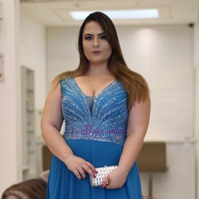 V-Neck Brilliant A-Line Plus-Size  Beading Prom Dresses_3
