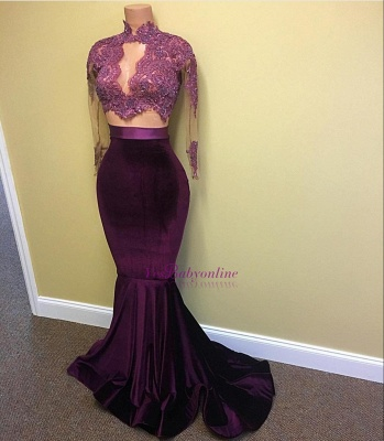2019 Two-Piece Prom Dresses Grape High Neck Long Sleeves Velvet Mermaid Evening Gowns_1