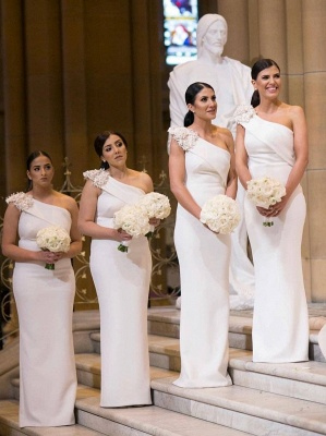 Elegant One Shoulder Sheath White Long Bridesmaid Dresses_1