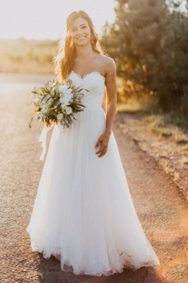 Chic Sweetheart Wedding Dresses | A-Line Open Back Bridal Gowns_1
