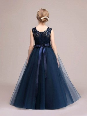 Lovely A-Line Tulle Lace Scoop Sashes Floor-Length Flower Girl Dress_3