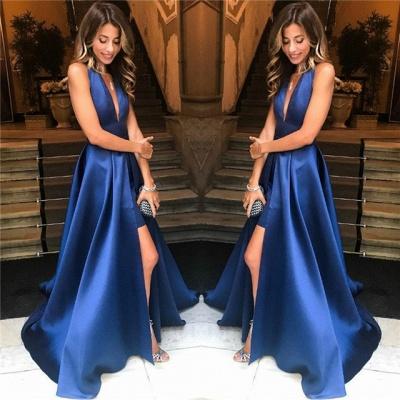 Elegant V-Neck A-Line Prom Dresses | Sparkly Over-Skirt Long Evening Dresses_3