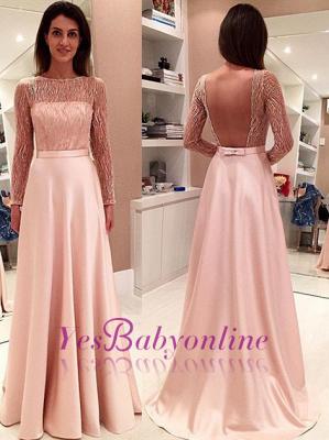 Glamorous Long-Sleeve Open-Back Bowknot Long Evening Dress_2