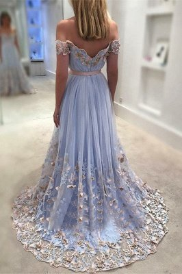 Glamorous A-Line Off Shoulder Evening Dresses | Tulle Flowers Open Back Prom Dresses_3