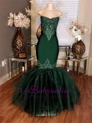 Tulle Sweetheart Appliques Prom Mermaid Long Dresses Sleeveless_1