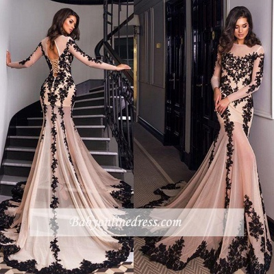 Long-Sleeves Mermaid Sexy Sheer Nude Lace-Appliques Black Evening Gowns_3