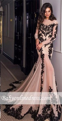 Long-Sleeves Mermaid Sexy Sheer Nude Lace-Appliques Black Evening Gowns_4