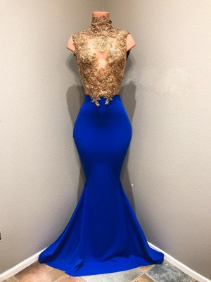 Shiny Sleeveless Mermaid Prom Dresses | Gold and Royal Blue Evening Gowns_1