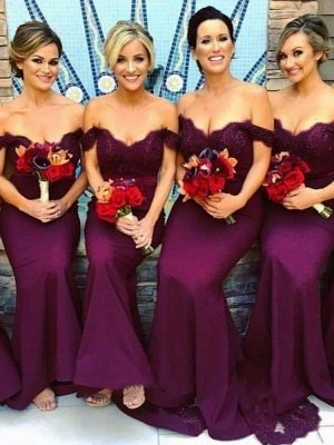 Trumpet/Mermaid Lace Bridesmaid Dresses | Off-The-Shoulder Court Train Maid of the Honor Dresses_1