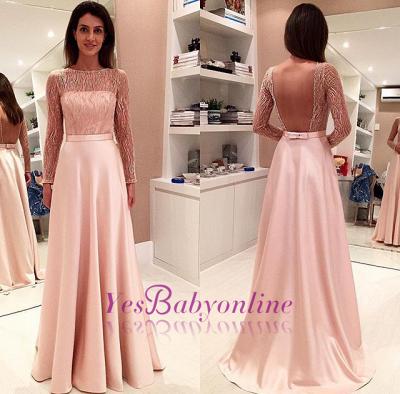 Glamorous Long-Sleeve Open-Back Bowknot Long Evening Dress_1