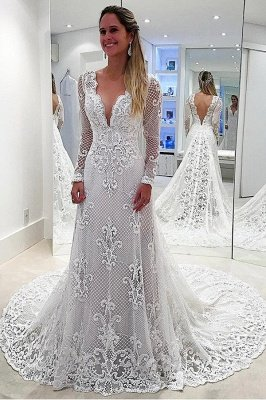 Delicate Sweep Train White Long Sleeve Lace Wedding Dress_1