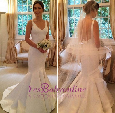 Glamorous V-Neck Sleeveless Open-Back Mermaid wedding Dress_1