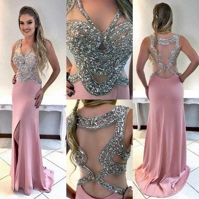 Crystal Glamorous Sleeveless Split Prom Dress_3