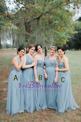 Blue Sleeveless Long Fashion Tulle Bridesmaid Dresses_1