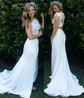 Zipper Modest Two-Piece Sweep-Train White Lace Mermaid Wedding Dress_4