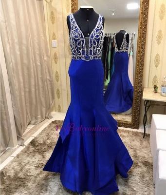 Modern Sleeveless Royal-Blue Straps Ruffles Mermaid Prom Dress_1