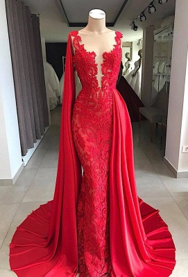 Gorgeous Sleeveless V-neck Appliques Prom Dresses with Watteau Train_1