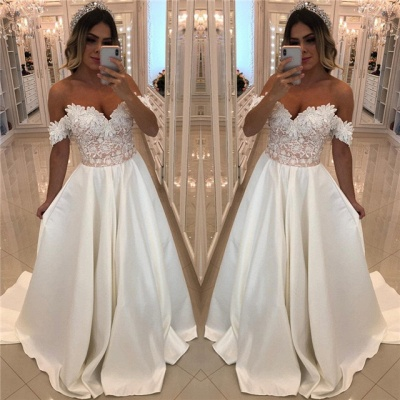 Luxury Off-The-Shoulder Puffy Prom Dresses   Appliques Beaded Long Prom Dresses_3