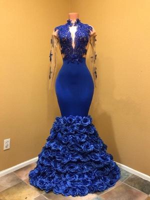Elegant Long Sleeves Prom Dresses | Royal Blue Mermaid Evening Gowns_1