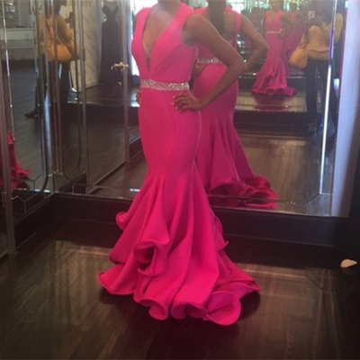 2019 Fuchsia Mermaid Prom Dresses Deep-V-Neck Sexy Evening Gowns with Ruffles Skirt_3