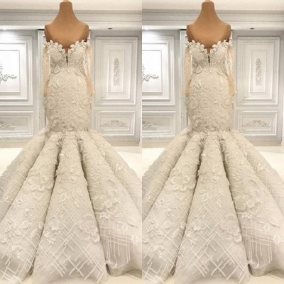 Off the Shoulder Fit and Flare Lace Wedding Dresses with Long Sleeves_2