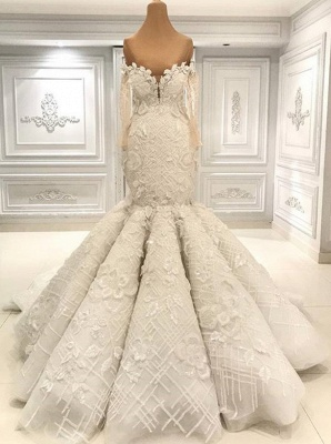 Off the Shoulder Fit and Flare Lace Wedding Dresses with Long Sleeves_1