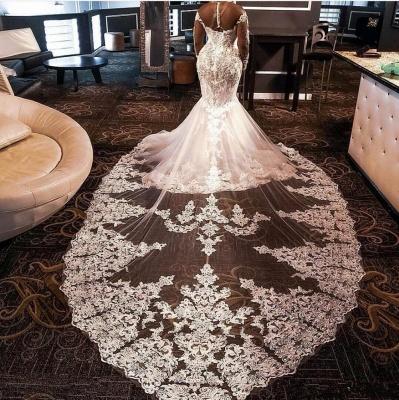 High Neck Crystal Mermaid Wedding Dresses with Long Sleeves_2