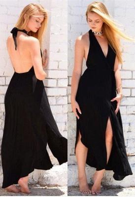 Sexy Halter Front-Split Black Backless Sleeveless Prom Dress_2