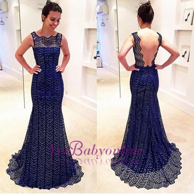 Royal-Blue Sweep-Train Backless Sheath-Column Sleeveless Evening Dress_1