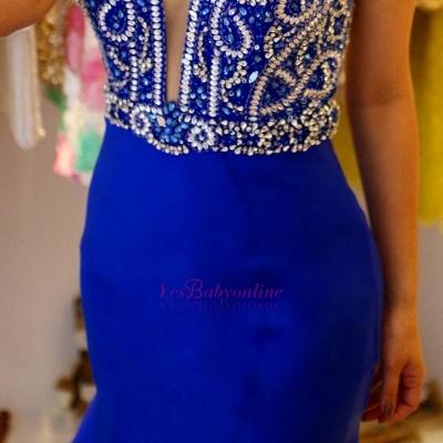 Modern Sleeveless Royal-Blue Straps Ruffles Mermaid Prom Dress_3
