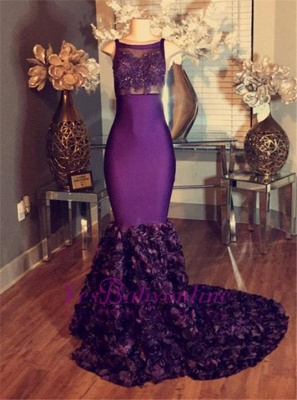 Long Sleeveless Lace-Applique dresses Mermaid Prom Purple with Flower-Train_1