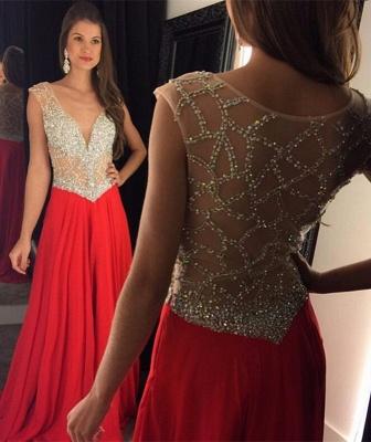 Elegant Long Beading Crystal V-Neck  Natural Prom Dresses_3