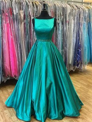 Stunning A-Line Green Sleeveless Beadings Prom Dress_2