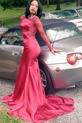 Sexy Mermaid New Long-Sleeves Backless Appliques Red Prom Dress_2