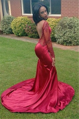 Sexy Mermaid New Long-Sleeves Backless Appliques Red Prom Dress_3