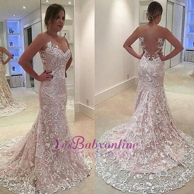 Elegant Sleeveless Court-Train Mermaid Lace Sheer-Tulle Prom Dress_1