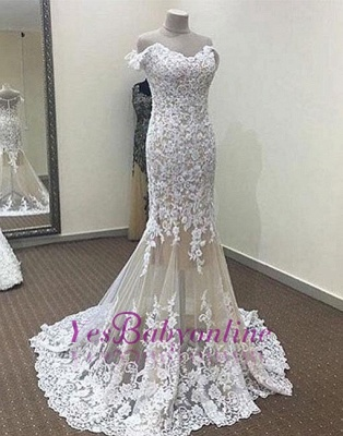 Mermaid White Off-the-shoulder Long Lace Evening Dress_1