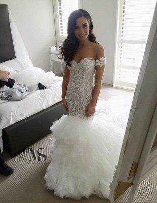 Off-the-shoulder Sweep Train Sexy Mermaid Wedding Dress With Ruffles_1