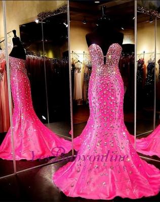Sweetheart Sleeveless Open-Back Mermaid Crystal Luxury Prom Dress_1