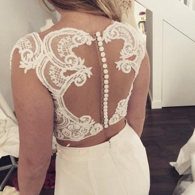 Zipper Modest Two-Piece Sweep-Train White Lace Mermaid Wedding Dress_5