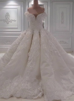 Off the Shoulder Gorgeous Ball Gown Wedding Dresses with Exquisite Appliques_1