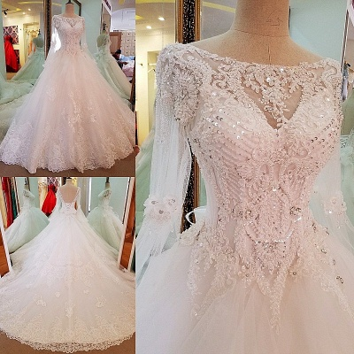 Long Sleevess Sequins A-line Lace Sweep Train Wedding Dress_3