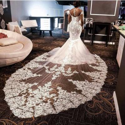 High Neck Crystal Mermaid Wedding Dresses with Long Sleeves_3