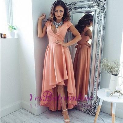 Sexy Hi-Lo V-Neck A-Line Short-Sleeves Prom Dresses_1
