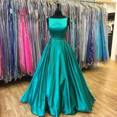 Stunning A-Line Green Sleeveless Beadings Prom Dress_4